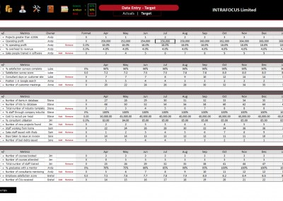 Intrafocus BSC Template - Data Entry - Targets