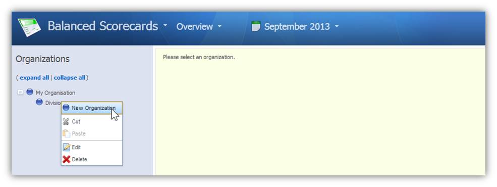 Organisations - New Organisation