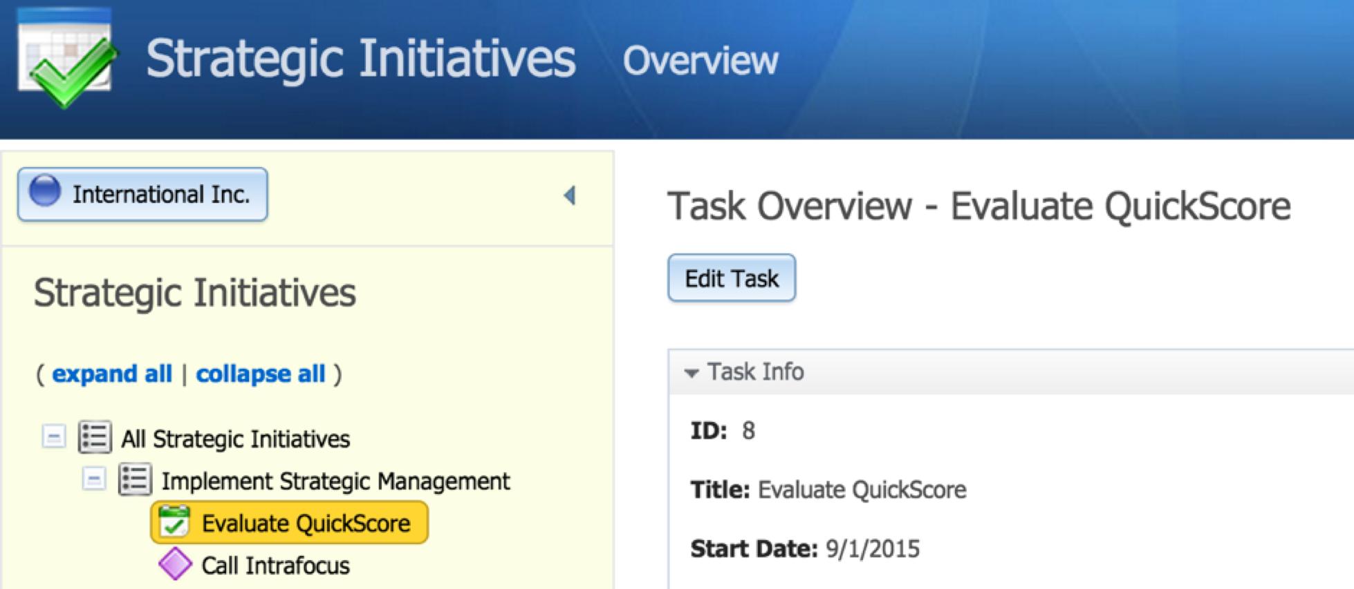 Displaying Tasks as Initiatives