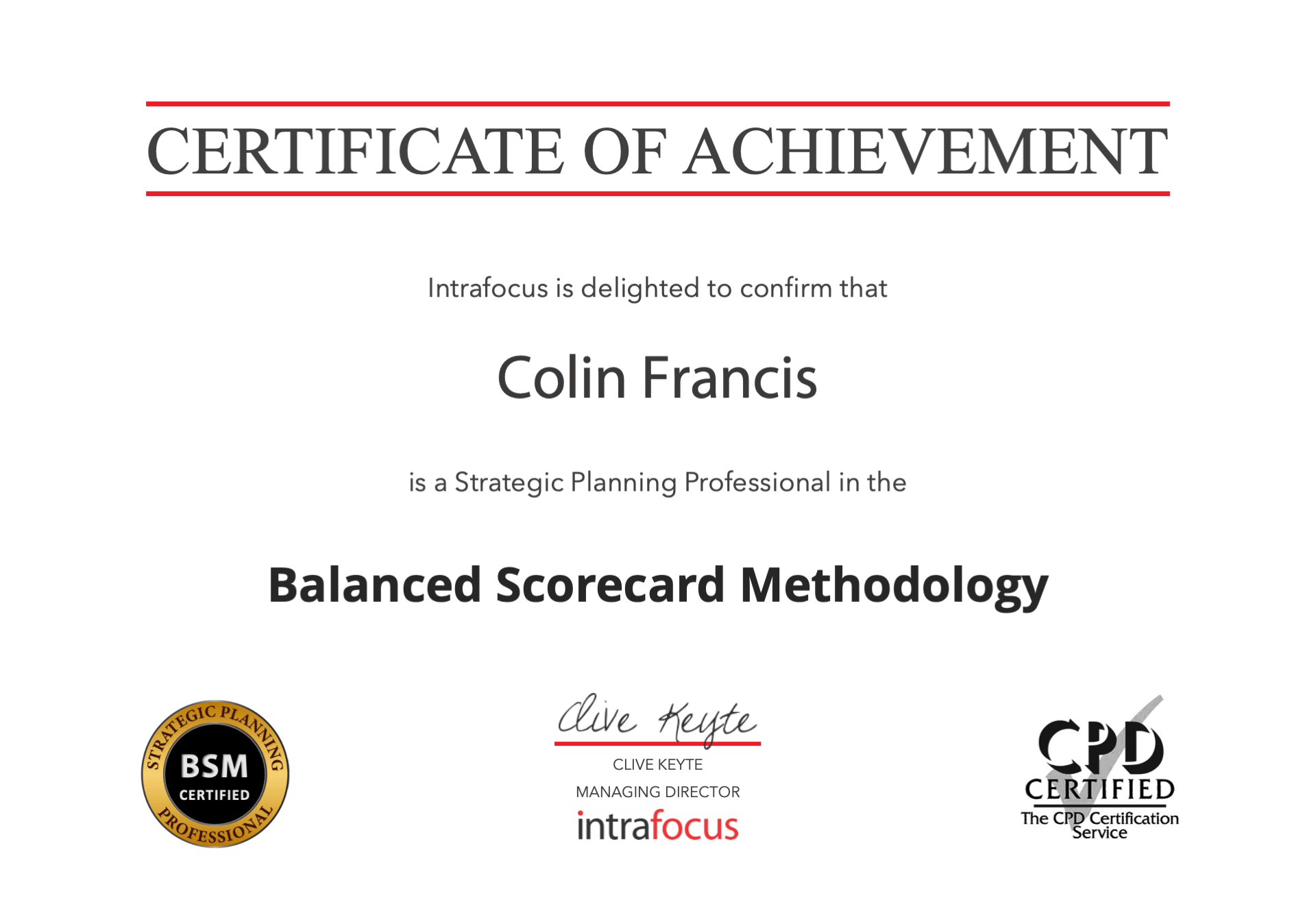 Certificate of Achievement - Strategic Planning using the Balanced Scorecard